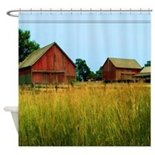 Farm Field with Red Barns Shower Curtain