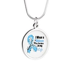 Ribbon Hero Prostate Cancer Silver Round Necklace