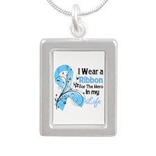 Ribbon Hero Prostate Cancer Silver Portrait Neckla