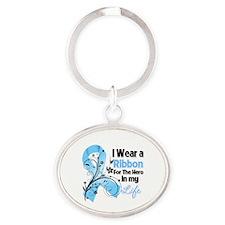 Ribbon Hero Prostate Cancer Oval Keychain