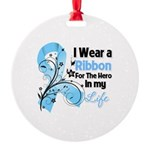 Ribbon Hero Prostate Cancer Round Ornament