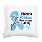 Ribbon Hero Prostate Cancer Square Canvas Pillow