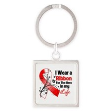 Ribbon Hero Oral Cancer Square Keychain