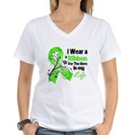 Ribbon Hero Non-Hodgkins Women's V-Neck T-Shirt