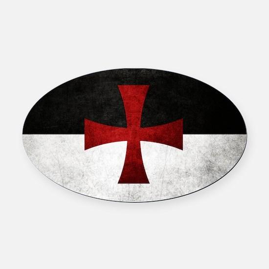 Templar Flag Oval Car Magnet