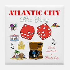 ON THE ATLANTIC CITY BOARDWALK. Tile Coaster