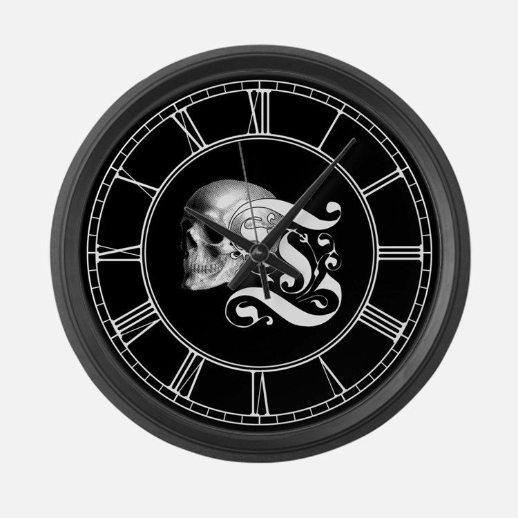 Gothic Skull Initial T Large Wall Clock