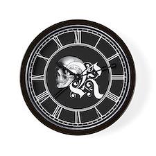 Gothic Skull Initial R Wall Clock