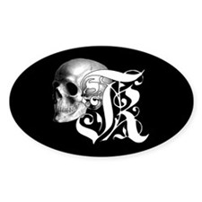 Gothic Skull Initial K Decal