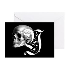 Gothic Skull Initial Y Greeting Cards (Pk of 10)