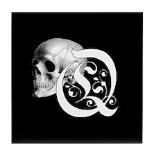 Gothic Skull Initial Q Tile Coaster