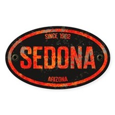 Sedona Red Metal Grunge Oval