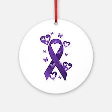 Purple Awareness Ribbon Ornament (Round)