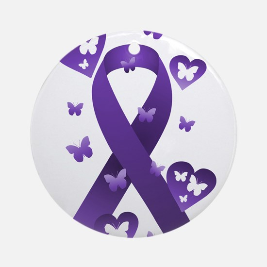 Purple Awareness Ribbon Ornament (Round)