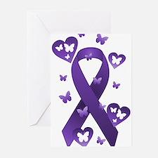 Purple Awareness Ribbon Greeting Cards (Pk of 20)