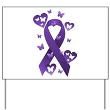 Purple Awareness Ribbon Yard Sign
