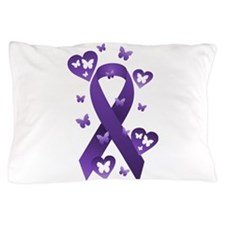 Purple Awareness Ribbon Pillow Case
