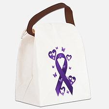 Purple Awareness Ribbon Canvas Lunch Bag