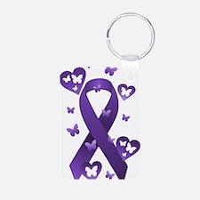 Purple Awareness Ribbon Keychains