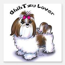 "Shih Tzu lover Square Car Magnet 3"" x 3"""