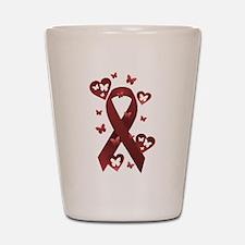 Red Awareness Ribbon Shot Glass