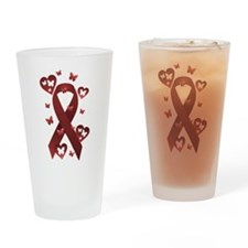 Red Awareness Ribbon Drinking Glass