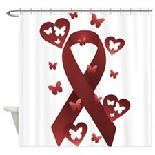Red Awareness Ribbon Shower Curtain