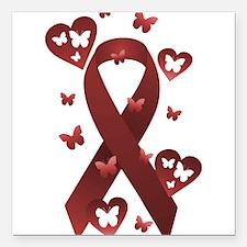 """Red Awareness Ribbon Square Car Magnet 3"""" x 3"""""""