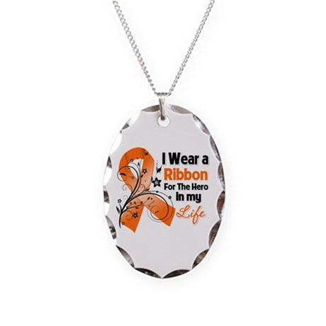 Ribbon Hero Kidney Cancer Necklace Oval Charm