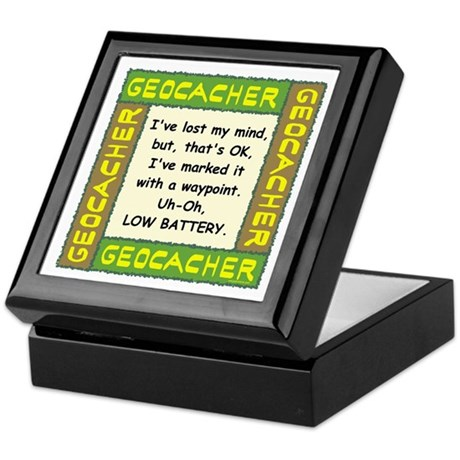 Green Geocacher Lost Mind Keepsake Box