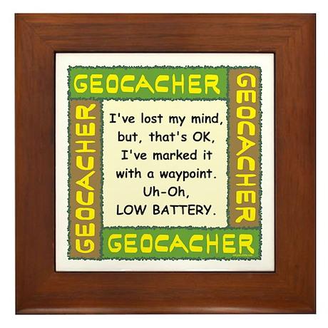 Green Geocacher Lost Mind Framed Tile
