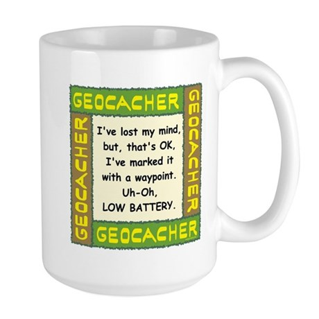 Green Geocacher Lost Mind Large Mug
