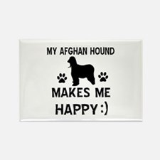 My Afhgan Hound makes me happy Rectangle Magnet