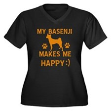 My Basenji makes me happy Women's Plus Size V-Neck