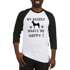 My Basenji makes me happy Baseball Jersey