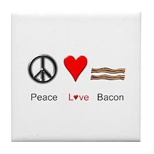 Peace Love Bacon Tile Coaster