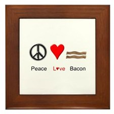 Peace Love Bacon Framed Tile