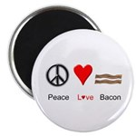 "Peace Love Bacon 2.25"" Magnet (10 pack)"