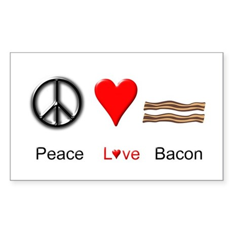 Peace Love Bacon Sticker (Rectangle)
