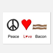 Peace Love Bacon Postcards (Package of 8)