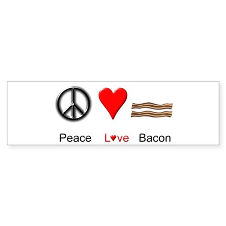 Peace Love Bacon Sticker (Bumper)