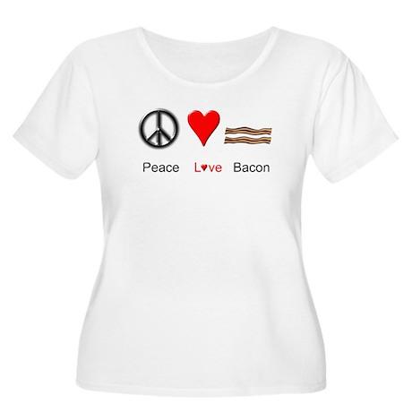 Peace Love Bacon Women's Plus Size Scoop Neck T-Sh