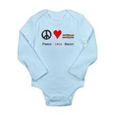 Peace Love Bacon Long Sleeve Infant Bodysuit