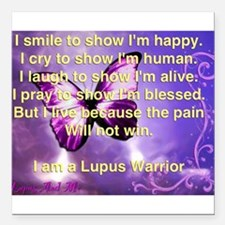 "Lupus Warrior Square Car Magnet 3"" x 3"""