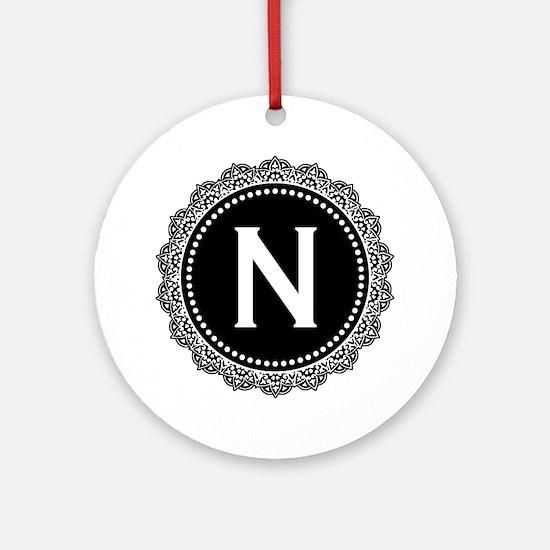 Monogram Medallion N Ornament (Round)