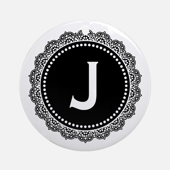 Monogram Medallion J Ornament (Round)