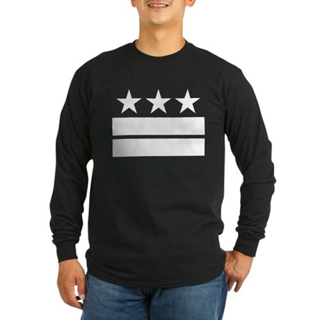 Three Stars and Two Bars Long Sleeve Dark T-Shirt