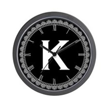 Monogram Medallion K Wall Clock