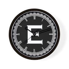 Monogram Medallion E Wall Clock