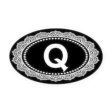 Monogram Medallion Q Oval Car Magnet
